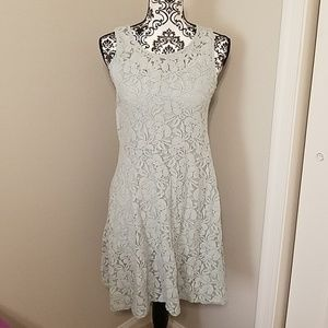 Free People dress, mint green lace with slip